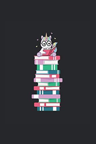 Einhorn mit Brille liebt Bücher: 6x9 liniert Notizbuch