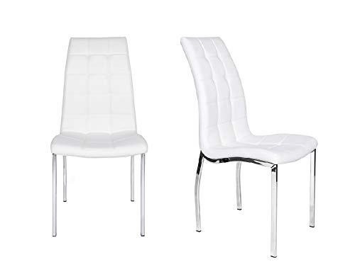 Modern Matinee Leather Dining Chairs Chrome and White (Set of 2)