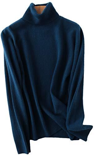 PHELEAD Damen 100% Merinowolle Pullover Winterpullover mit hohem Stehkragen aus Langarm Rollkragenpullover Slim warm Strick Sweater (L, Blue)