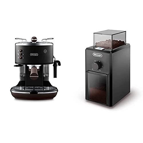 De'Longhi Icona Vintage Ecov311.Bk Macchina Da Caffè Espresso Manuale E Cappuccino, Caffè In Polvere O In Cialde E.S.E. & Kg79 Macinacaffè Professionale A Pressione Con 3 Livelli Di Macinatura, Nero