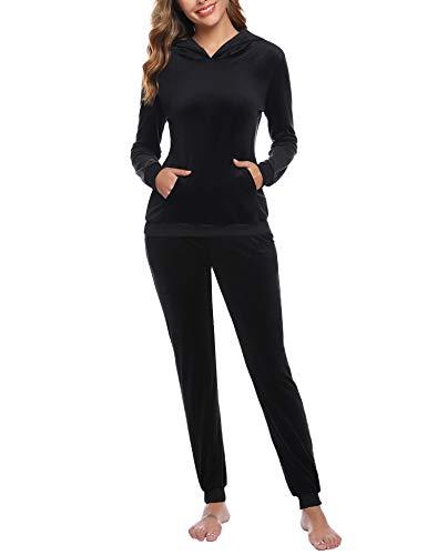 Akalnny Damen Samt Velours Trainingsanzug 2-Teiliger Jogginganzug Casual Sportbekleidung mit Kapuzen und Hose Hausanzug Kordelzug Taschen(Schwarz, M)