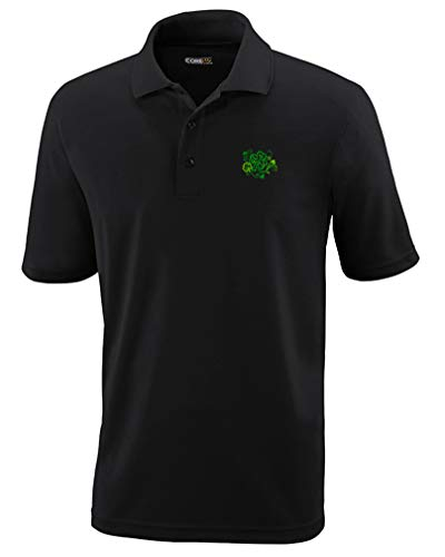 Speedy Pros Polo Performance Shirt Celtic Shamrocks Symbole Embroidery Design Polyester Golf Shirt for Men Black 2X Large Design Only