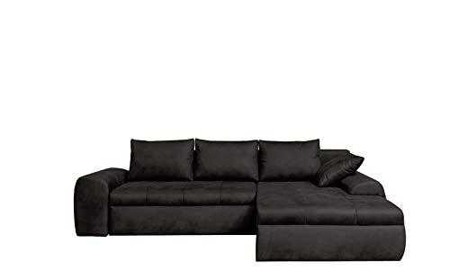 lifestyle4living Ecksofa mit Schlaffunktion und Bettkasten in Schwarz | Gemütliches Mikrofaser L-Sofa im Vintage-Look mit Stauraum inkl. 4 Rückenkissen