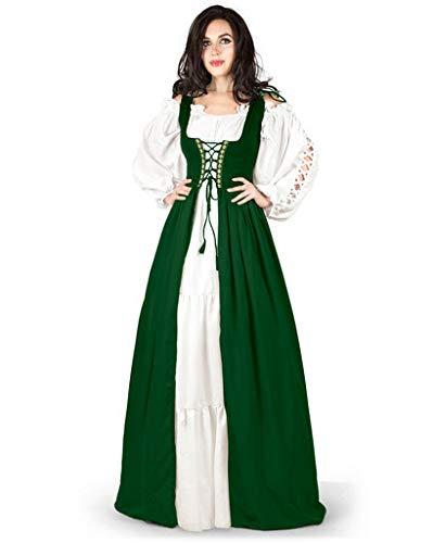 Gaelic Pirate Wench Irish Renaissance Costume Over Dress & Chemise (XX-Small-X-Small, Hunter Green)