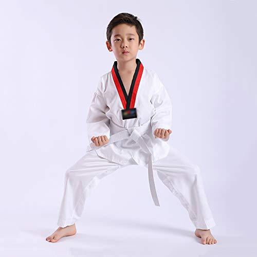 STAD Unisex Professional Taekwondo Uniform Karate Anzug Martial Arts Training Bekleidung Ausrüstung Anfänger Erwachsene Kinder Geschenke Baumwolle V-Ausschnitt Schwarzer Kragen Weißer Gürtel,Kids,S