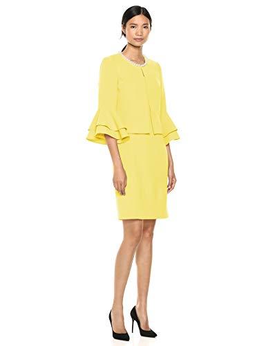 Tahari ASL Women's Ruffle Sleeve Open Jacket Dress Set, Lemon Yellow, 2