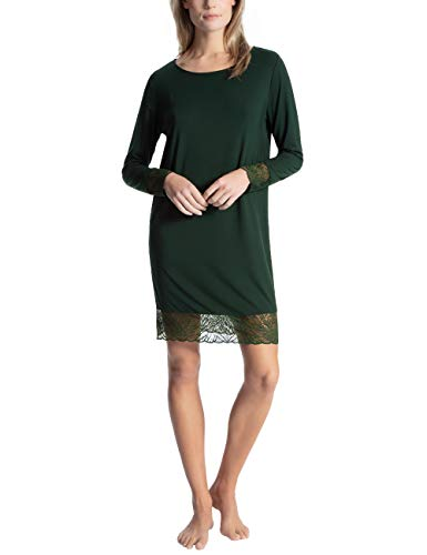 Calida Damen Cosy Glam Nachthemd, Grün (Scarab Green 649), 40 (Herstellergröße: S)