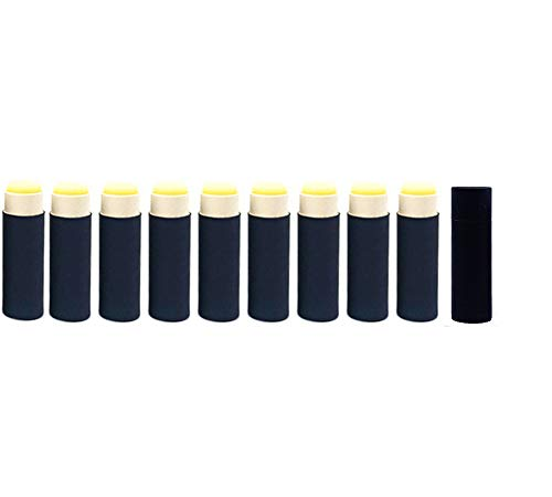 Paperboard Lip Balm Tubes,Cardboard Krafts Lipstick Tube Empty Lip Balm Container Round Paper Solid Perfume Tubes,10pcs (Black)