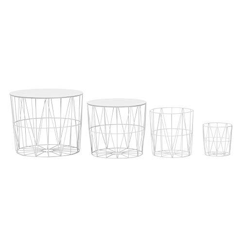 FineBuy Design Beistelltisch 4er Set aus Körben Weiß | Moderne Korbtische mit abnehmbaren Tablett | Satztisch 4-teilig mit Stauraum