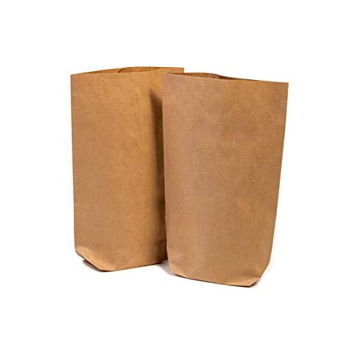 50 x Papiertüten Braun klein (16,5 x 26 x 6 cm groß) - Braune Geschenktüten für Adventskalender - Kraftpapiertüten, Bodenbeutel, Kreuzbodenbeutel, Bag, Tüten, Tütchen, Beutel aus Kraft Papier