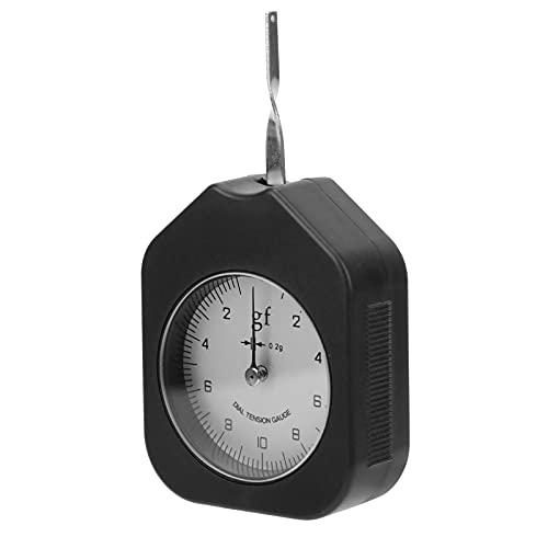 Medidor de fuerza Tensiómetro Dial Medidor de tensión Interruptor de calibre Medidor de fuerza Aguja única 10g Aleación portátil para medir negro