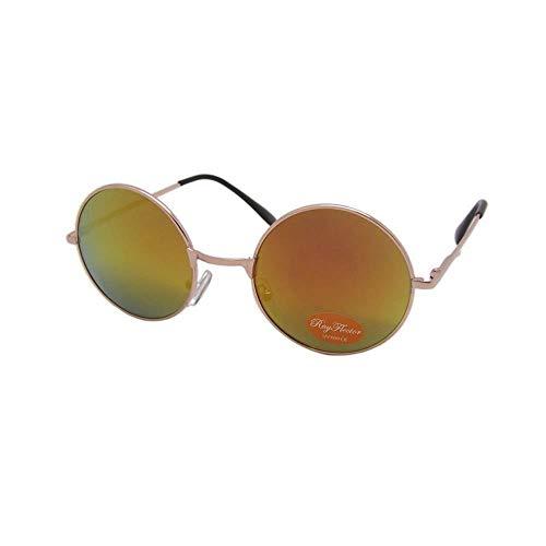 CHICNET Hochwertige Damen Herren Sonnenbrille Rundglas Hippie John-Lennon Brille 400UV rund, runde Gläser, langer Steg, aus Metall und Acryl, verspiegelt und getönt (orange gold)