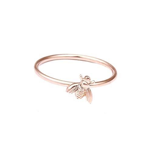 minjiSF Little Bee - Anillo fino para mujer, pequeño fresco, anillo de compromiso, regalo delicado, anillo de boda, anillo de boda, anillo de recuerdo, accesorio de joyería (oro rosa)