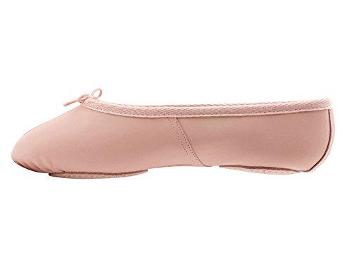 Katz Dancewear Girls Ladies Pink Leather Split Sole Ballet Shoes (Ladies Size UK 8)