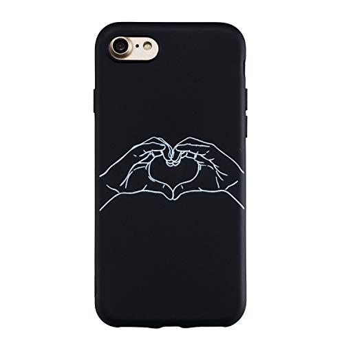 Yobby Silicone Cover per iPhone 7,Cover iPhone 8 Opaca Nera Ultra Thin Morbida Gomma Gel Custodia con Disegni Particolari,Cool Moda Posteriore Cover-Amore Cuore