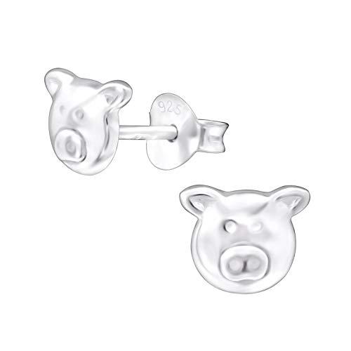 Laimons Pendientes infantiles para niña, diseño de cerdo, 7 x 6 mm, plata de ley 925