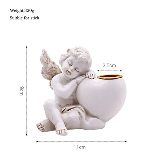 ASO-SLING Vintage Prayer Angel Candle Holders Antique Resin Angel Cherub Statue Figurines for Wedding Dining Party Decor