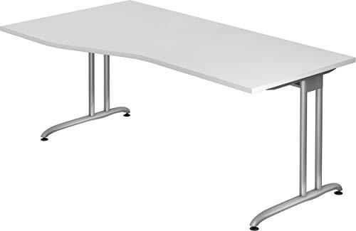bümö® Schreibtisch für das Büro   Bürotisch in 6 Farben & 8 Größen verfügbar   Büroschreibtisch (Weiß, 180 x 100 cm)