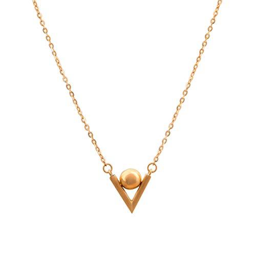 Lumarigold Celebrity 585 Halsketting voor dames, 14 karaats goud, geelgoud, met hanger, letter V bol, gravure