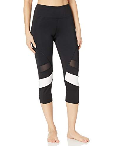 Amazon Brand - AURIQUE Leggings deportivos capri con paneles para mujer, Negro Nightshade/White, 40, Label:M