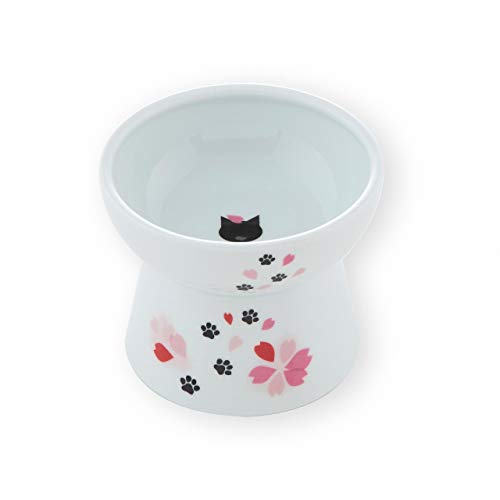 Necoichi Raised Cat Food Bowl, Stress Free, Backflow Prevention, Dishwasher and Microwave Safe, Made to FDA/EC&ECC European Standard (Sakura Limited Edition, Large)