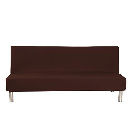 Aisaving Einfarbig Armlose Sofabettüberzug Polyester Spandex Stretch Futon Schutzhülle Protector 3-Sitzer elastisch vollklappbar Couch Sofa Shield für Klappcouch ohne Armlehnen (Coffee)
