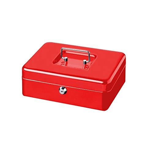 BURGWÄCHTER Cassetta portavalori con chiave e vassoio portamonete, Cassetta di sicurezza, Lamiera d'acciaio, Money 5025, Rosso
