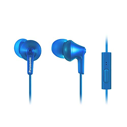 Panasonic ErgoFit Earbud Headphones with Microphone and Call Controller Compatible with iPhone, Android and BlackBerry - RP-TCM125-AA - in-Ear (Metallic Blue), S/M/L Included (Renewed)