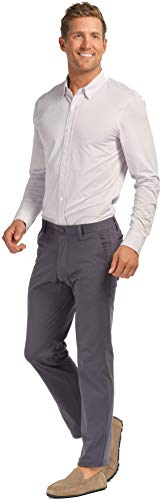 Rhone Men's Commuter Comfortable Stretch Straight-Leg Flat-Front Pants (Iron, 30)