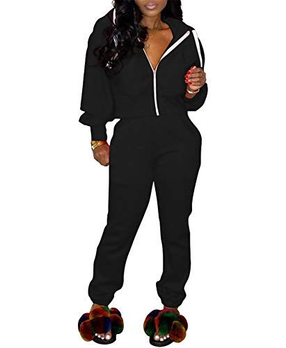 Women's Casual Two Piece Outfits Tracksuits Jogging Suits 2 Pc Sets Hoodie Jackets + Pencil Jogger Pants Sweatsuits Black Large Mississippi