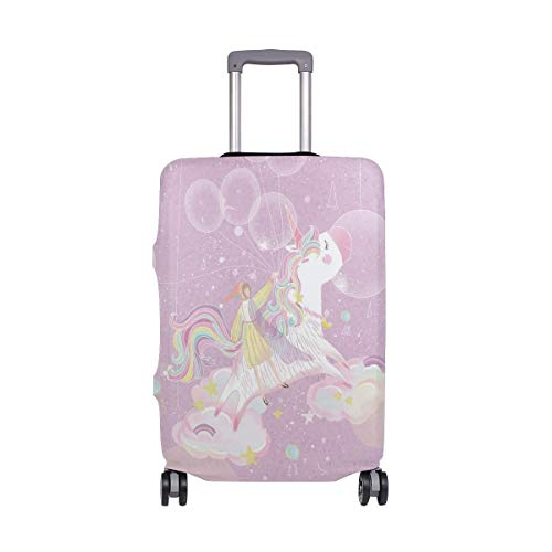 Travel Lage Cover Purple Fresh Beautiful Little Girl Balloon Pony Unicorn Suitcase Protector Fits 26-28 Inch Washable B.