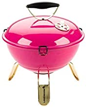 LANDMANN Piccolino Holzkohle-Kugelgrill inkl. Grillzange | Mit Temperaturanzeige & Lüftungsscheibe im Deckel | Verchromter Grillrost Durchmesser 34 cm Pink