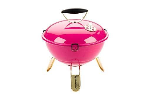 LANDMANN Piccolino Holzkohle-Kugelgrill inkl. Grillzange | Mit Temperaturanzeige & Lüftungsscheibe im Deckel | Verchromter Grillrost Ø 34 cm [Pink]