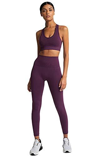 PowerLife MisShow Damen Sportanzüge Jogginganzug Sport Sets Hosen + Sport BH 2 Stücke Bekleidungssets Yoga Outfit Freizeitanzug Sportswear Lila L