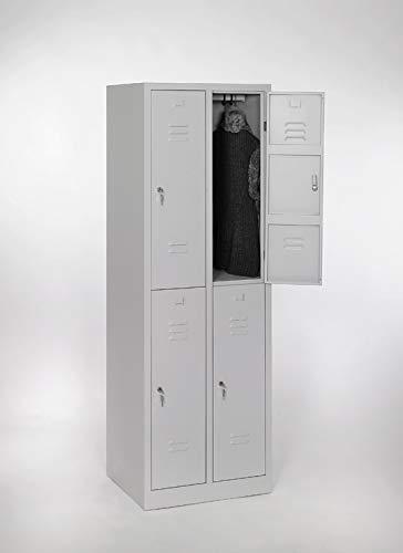 furni24 Garderobenschrank, Schließfach, Spind, Umkleideschrank, Kleiderschrank Abteilbreite 30 cm 4-türig