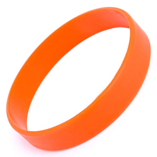 """48pcs Silicone Wristbands Rubber Bracelets for Parties, Sports and Events, Durable and Flexible Customizable,Width 1/2 inch (Orange, Adult/8"""")"""
