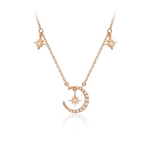 SMEJS Collar de gargantilla de estrella y luna, joyería de collares de cadena corta de moda, mejor amiga, novia, cumpleaños, aniversario, boda, novia, regalo de joyería, oro