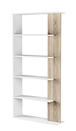 EGLEMTEK Libreria Santa Cruz Design Scaffale Mensola Moderna Bianca Rovere Chiaro Mobile per Libri con Ripiani per Soggiorno Salotto 180 x 90 x 25 cm (Colore Bianco e Rovere Chiaro)