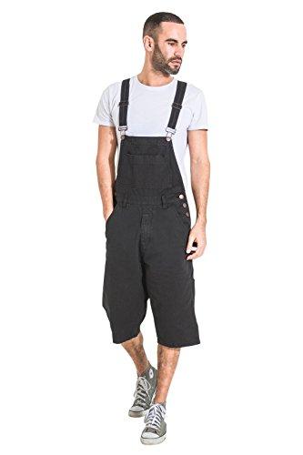 USKEES Peto Corto Hombre - Negro Pantalones Cortos de Mezclilla Dungaree BLAKEBLACK