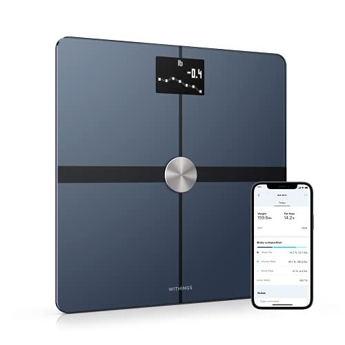 Withings Body+ Báscula inteligente con conexión Wi-Fi, medición de la grasa corporal, IMC, masa muscular y porcentaje de agua corporal, sincronización con la aplicación móvil Bluetooth o Wi-Fi,Negro
