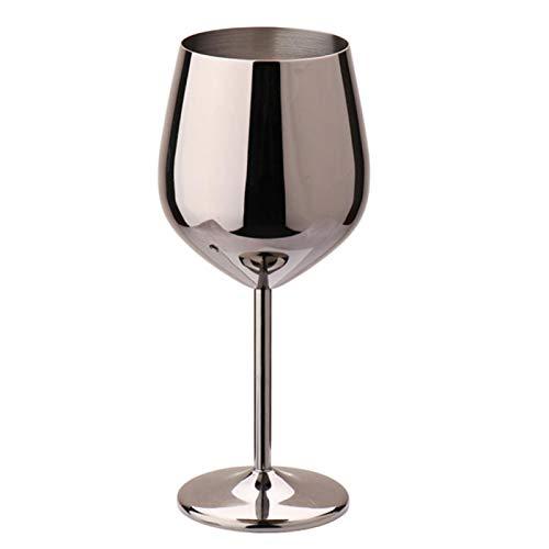 POHOVE Copas de vino de 500 ml de gran capacidad de acero inoxidable para beber, copa de cóctel de champán de una sola capa de cocina inastillable Home Bar sy Clean al aire libre (negro)