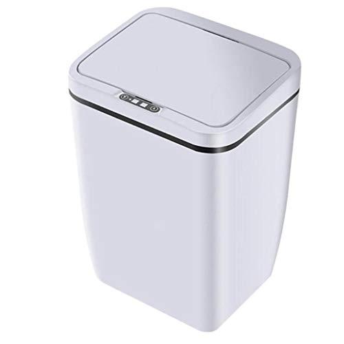 SMEJS Bote de Basura de la Cocina del Sensor de Movimiento de inducción Inteligente automático sin Contacto, Bote de Basura de la protección del Medio Ambiente del Sensor (Color : White)