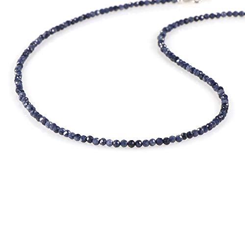 Collana con zaffiro blu naturale, collana con pietra portafortuna di settembre, in argento Sterling, collana con zaffiro raro