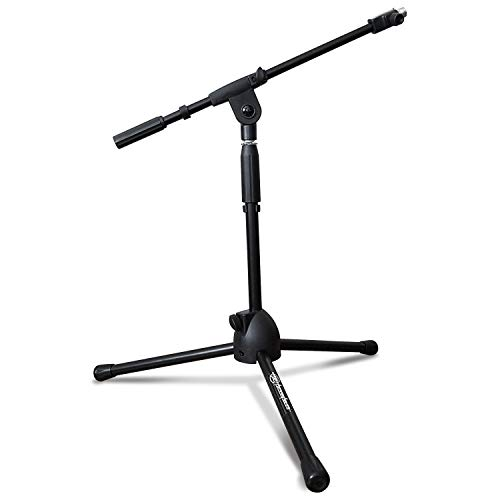 AxcessAbles MS-101L Short Microphone Stand with Boom, Low Profile Mic Tripod Stand for Kick Drums/Guitar Amplifiers