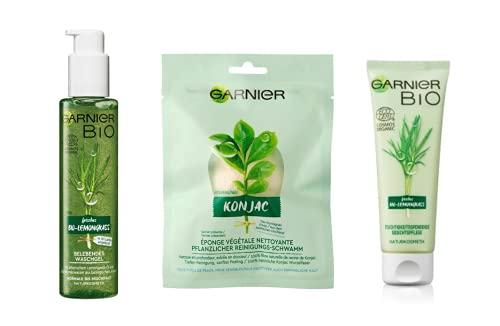 Garnier Gesichtspflege-Set, Naturkosmetik, 3-teiliges Geschenk-Set, Bio-Lemongrass Waschgel,...