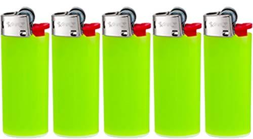 All u need BIC Mini Feuerzeuge Reibrad Lighter Neutral Flints Zündstein J25 5 Stück + Keyring Flaschenöffner (Apfelgrün)