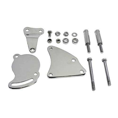 A-Team Performance Short Water Pump Type II Power Steering Bracket Compatible with Chevrolet SBC Small Block Chevy V8 GEN. I, Chrome