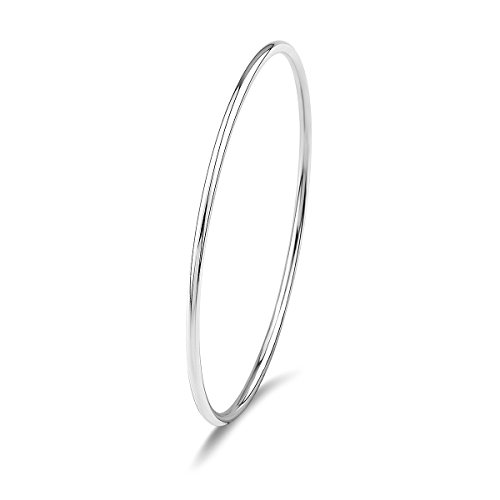 Merdia 925 Sterling Silver Stackable Polished Bangle Bracelet with Fresh Simple Style 2.8″(7cm)