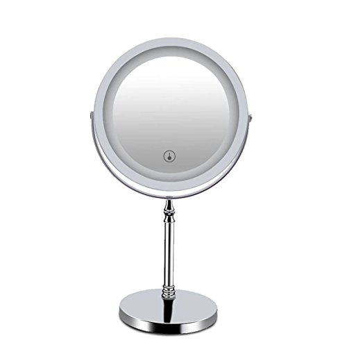 Miroir Grossissant Miroir Maquillage, Miroir Cosmétique illuminé de double face, 360 Ajustable Acier Inox, - 10X a grossi la vanité de maquillage (10X)