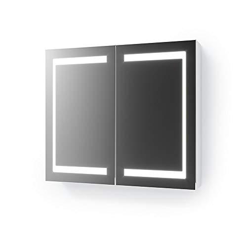 Vicco LED Spiegelschrank Weiß Badschrank Badspiegel Badezimmerspiegel Beleuchtung (80 cm)